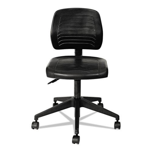 "Alera WL Series Workbench Stool, 25"" Seat Height, Supports up to 250 lbs., Black Seat/Black Back, Black Base. Picture 3"