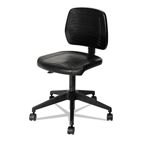 "Alera WL Series Workbench Stool, 25"" Seat Height, Supports up to 250 lbs., Black Seat/Black Back, Black Base. Picture 5"