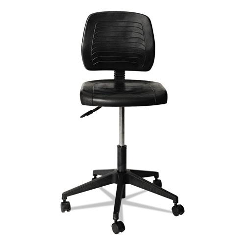 "Alera WL Series Workbench Stool, 25"" Seat Height, Supports up to 250 lbs., Black Seat/Black Back, Black Base. Picture 1"