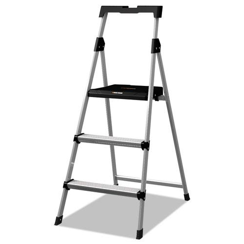 Aluminum Step Stool Ladder, 3-Step, 225 lb Capacity, 20w x 31 spread x 47h, Silver. Picture 1