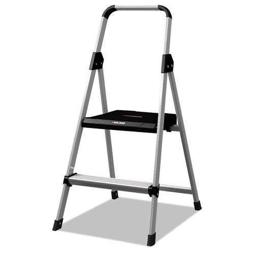 Aluminum Step Stool Ladder, 2-Step, 225 lb Capacity, 18.5w x 23.5 spread x 38.5h, Silver. Picture 1