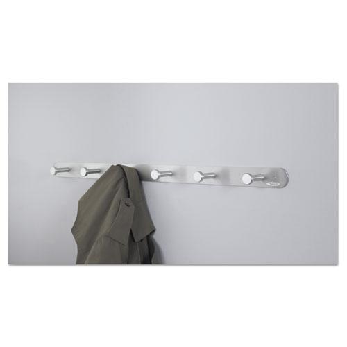 Nail Head Wall Coat Rack, Six Hooks, Metal, 36w x 2.75d x 2h, Satin. Picture 5