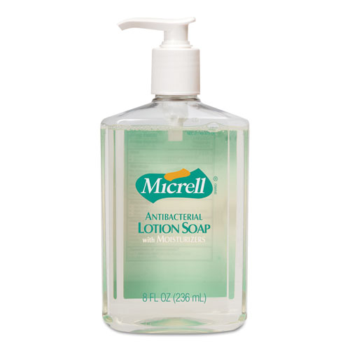 Antibacterial Lotion Soap, Light Scent, 8 oz Pump, 12/Carton. Picture 1