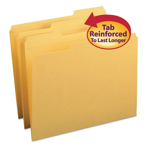 Reinforced Top Tab Colored File Folders, 1/3-Cut Tabs, Letter Size, Goldenrod, 100/Box. Picture 1
