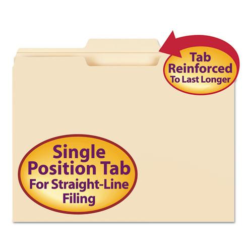 Reinforced Tab Manila File Folders, 1/3-Cut Tabs, Center Position, Letter Size, 11 pt. Manila, 100/Box. Picture 1