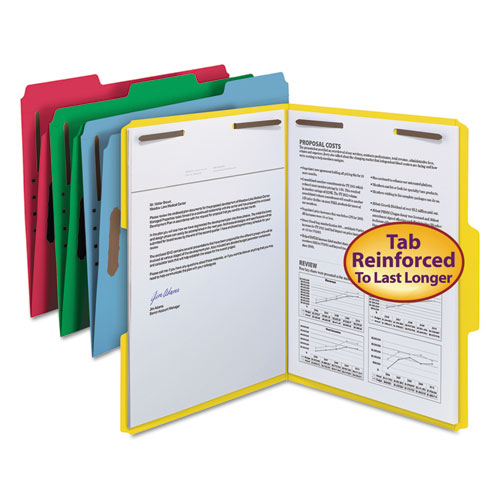 Top Tab Colored 2-Fastener Folders, 1/3-Cut Tabs, Letter Size, Assorted, 50/Box. Picture 1