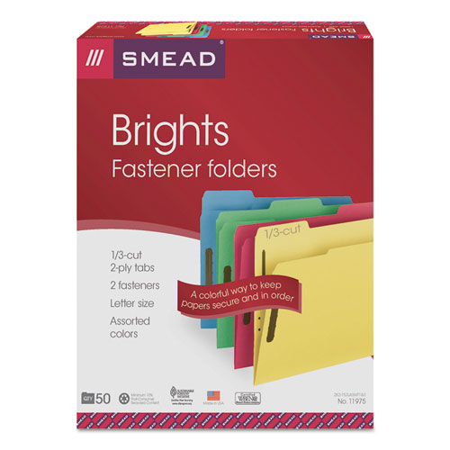 Top Tab Colored 2-Fastener Folders, 1/3-Cut Tabs, Letter Size, Assorted, 50/Box. Picture 5
