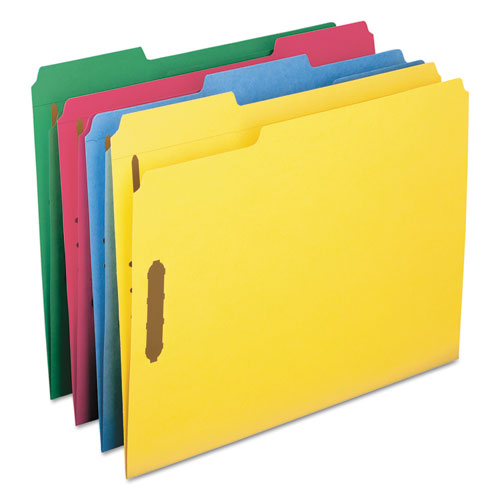 Top Tab Colored 2-Fastener Folders, 1/3-Cut Tabs, Letter Size, Assorted, 50/Box. Picture 4