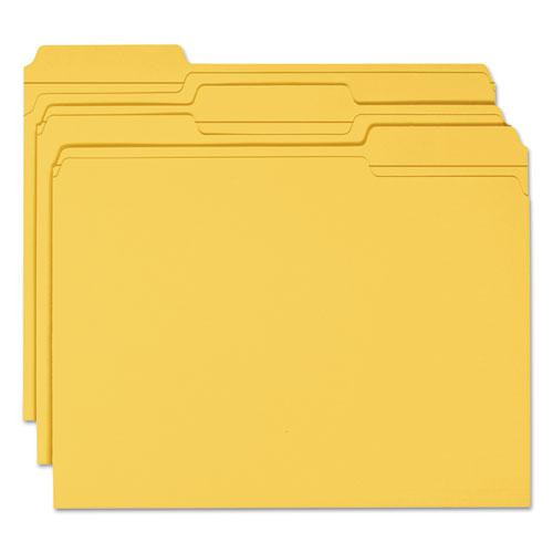 Reinforced Top Tab Colored File Folders, 1/3-Cut Tabs, Letter Size, Goldenrod, 100/Box. Picture 3