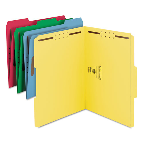 Top Tab Colored 2-Fastener Folders, 1/3-Cut Tabs, Letter Size, Assorted, 50/Box. Picture 2