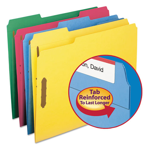 Top Tab Colored 2-Fastener Folders, 1/3-Cut Tabs, Letter Size, Assorted, 50/Box. Picture 3