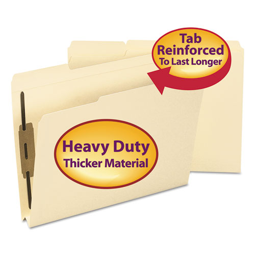 Top Tab Manila Expansion 2-Fastener Folders, 1/3-Cut Tabs, Letter Size, 50/Box. Picture 1