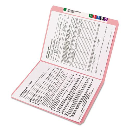 Reinforced Top Tab Colored File Folders, Straight Tab, Letter Size, Pink, 100/Box. Picture 2