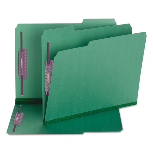 Colored Pressboard Folders with Two SafeSHIELD Coated Fasteners, 1/3-Cut Tabs, Letter Size, Green, 25/Box. Picture 3