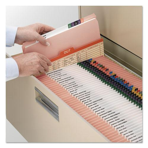 Reinforced Top Tab Colored File Folders, Straight Tab, Letter Size, Pink, 100/Box. Picture 3