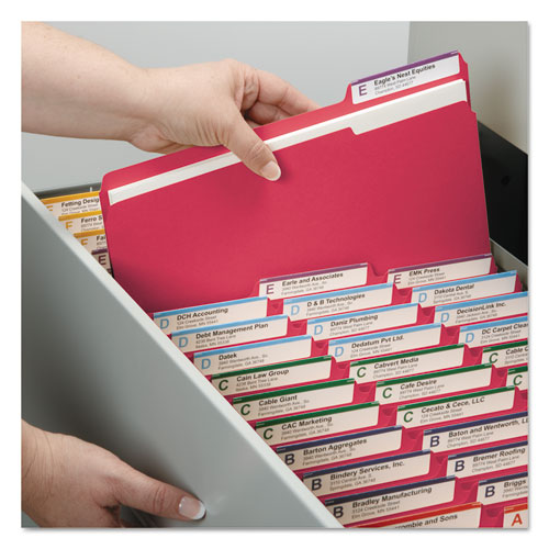 Colored Pressboard Folders with Two SafeSHIELD Coated Fasteners, 1/3-Cut Tabs, Letter Size, Bright Red, 25/Box. Picture 4