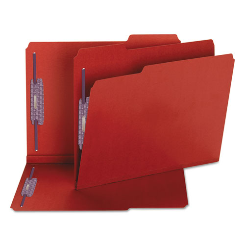 Colored Pressboard Folders with Two SafeSHIELD Coated Fasteners, 1/3-Cut Tabs, Letter Size, Bright Red, 25/Box. Picture 5