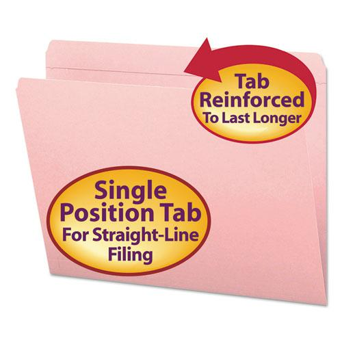 Reinforced Top Tab Colored File Folders, Straight Tab, Letter Size, Pink, 100/Box. Picture 1