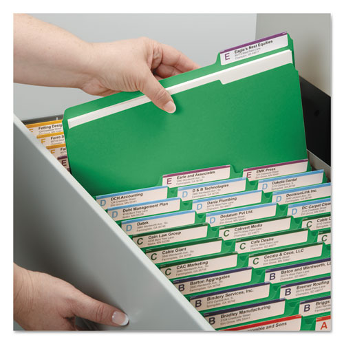 Colored Pressboard Folders with Two SafeSHIELD Coated Fasteners, 1/3-Cut Tabs, Letter Size, Green, 25/Box. Picture 4