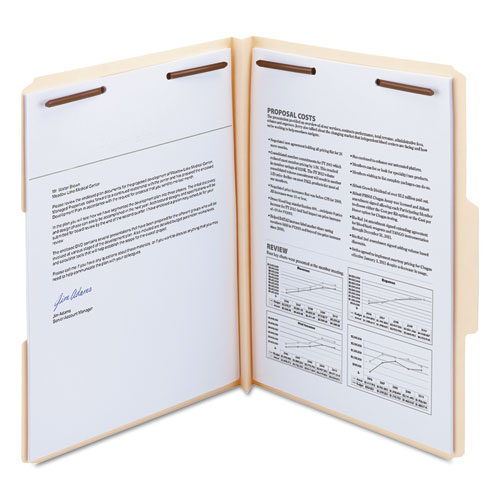 Top Tab Manila Expansion 2-Fastener Folders, 1/3-Cut Tabs, Letter Size, 50/Box. Picture 5