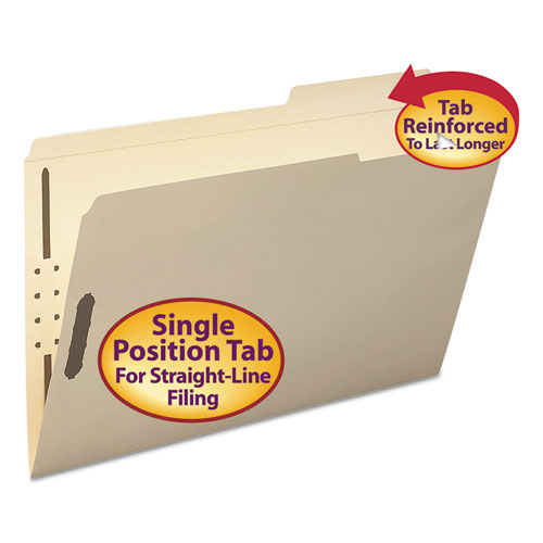Top Tab 2-Fastener Folders, 2/5-Cut Tabs, Right of Center, Legal Size, 11 pt. Manila, 50/Box. Picture 1