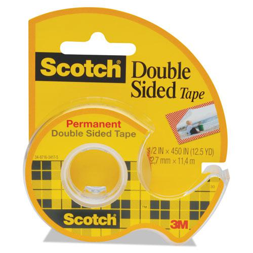 """Double-Sided Permanent Tape in Handheld Dispenser, 1"""" Core, 0.5"""" x 37.5 ft, Clear. Picture 1"""