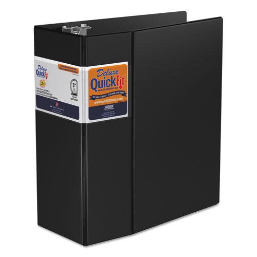 """QuickFit D-Ring Binder, 3 Rings, 5"""" Capacity, 11 x 8.5, Black. Picture 1"""