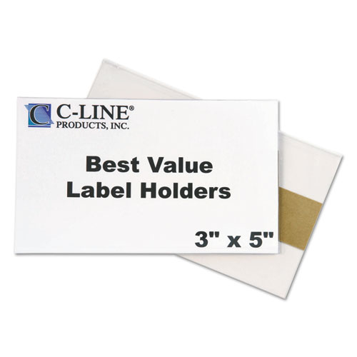 Self-Adhesive Label Holders, Top Load, 3 x 5, Clear, 50/Pack. Picture 3