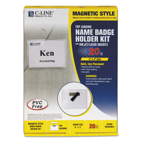 Magnetic Name Badge Holder Kit, Horizontal, 4w x 3h, Clear, 20/Box. Picture 1