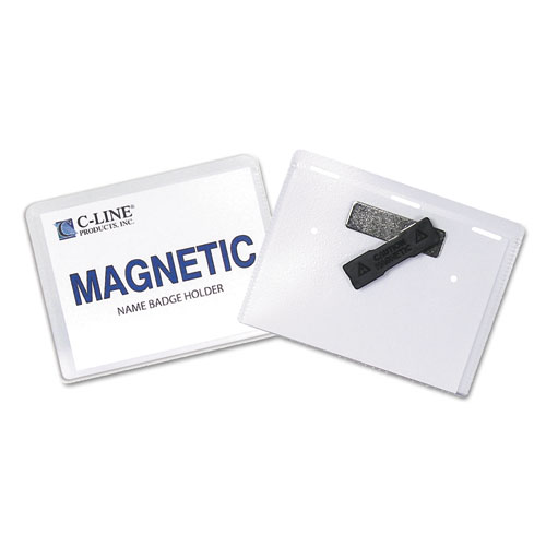 Magnetic Name Badge Holder Kit, Horizontal, 4w x 3h, Clear, 20/Box. Picture 3