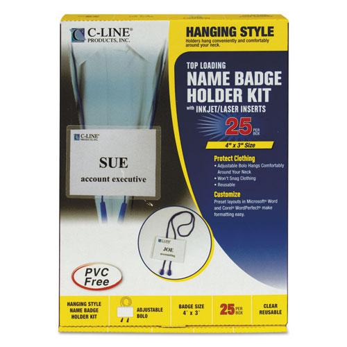Name Badge Kits, Top Load, 4 x 3, White, Blue Bolo Cord, 25/Box. Picture 1
