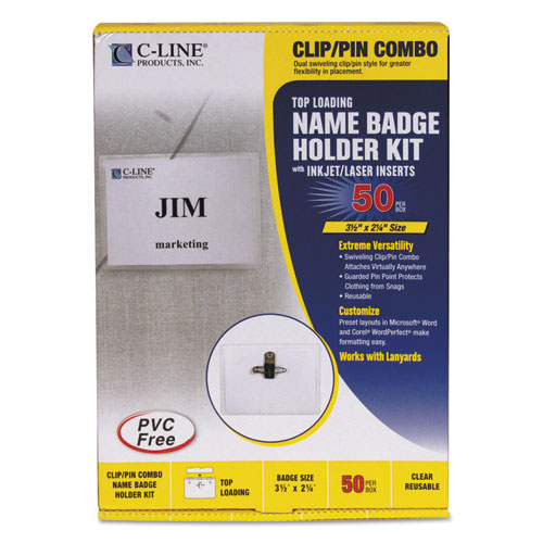 Name Badge Kits, Top Load, 3 1/2 x 2 1/4, Clear, Combo Clip/Pin, 50/Box. Picture 1