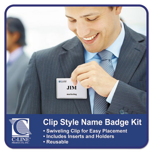 Name Badge Kits, Top Load, 4 x 3, Clear, Clip Style, 96/Box. Picture 3