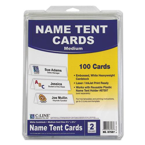 Embossed Tent Cards, White, 2.5 x 8.5, 2 Card/Sheet, 50 Sheets/Box. Picture 5