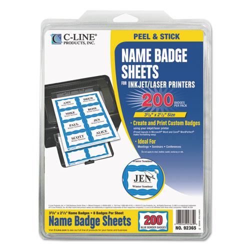 Laser Printer Name Badges, 3 3/8 x 2 1/3, White/Blue, 200/Box. Picture 1