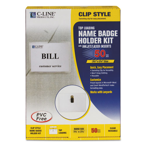 Name Badge Kits, Top Load, 3 1/2 x 2 1/4, Clear, 50/Box. Picture 1