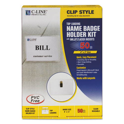 Name Badge Kits, Top Load, 4 x 3, Clear, 50/Box. Picture 3