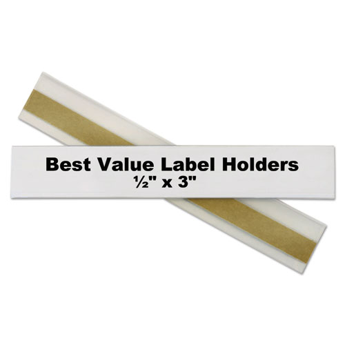 Self-Adhesive Label Holders, Top Load, 1/2 x 3, Clear, 50/Pack. Picture 4
