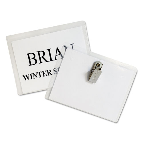 Name Badge Kits, Top Load, 4 x 3, Clear, Clip Style, 96/Box. Picture 2
