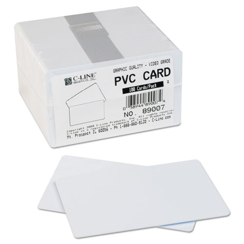PVC ID Badge Card, 3 3/8 x 2 1/8, White, 100/Pack. Picture 3