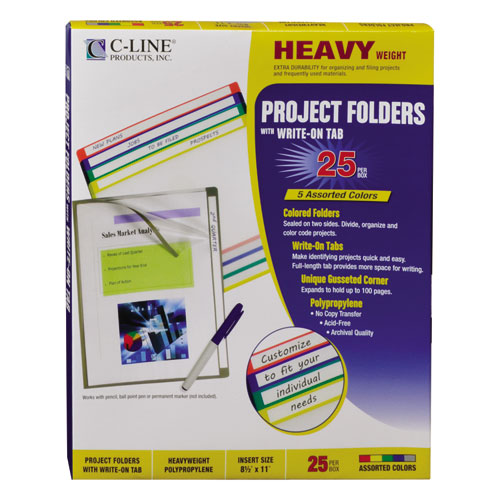 Write-On Project Folders, Straight Tab, Letter Size, Assorted Colors, 25/Box. Picture 3