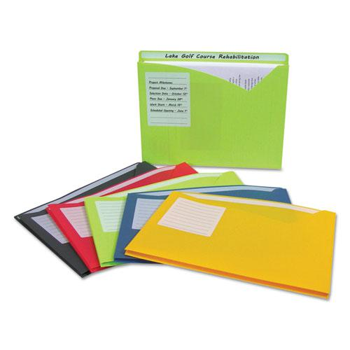 Write-On Poly File Jackets, Straight Tab, Letter Size, Assorted Colors, 25/Box. Picture 3