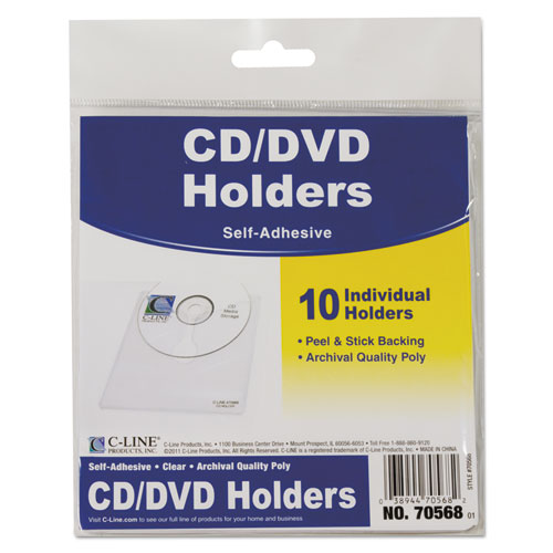 Self-Adhesive CD Holder, 5 1/3 x 5 2/3, 10/PK. Picture 1