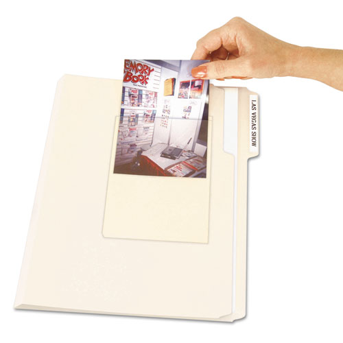 Peel & Stick Photo Holders, 4 3/8 x 6 1/2, Clear, 10/Pack. Picture 1