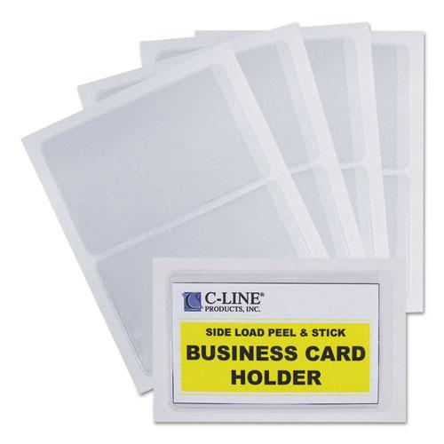 Self-Adhesive Business Card Holders, Side Load, 2 x 3 1/2, Clear, 10/Pack. Picture 5