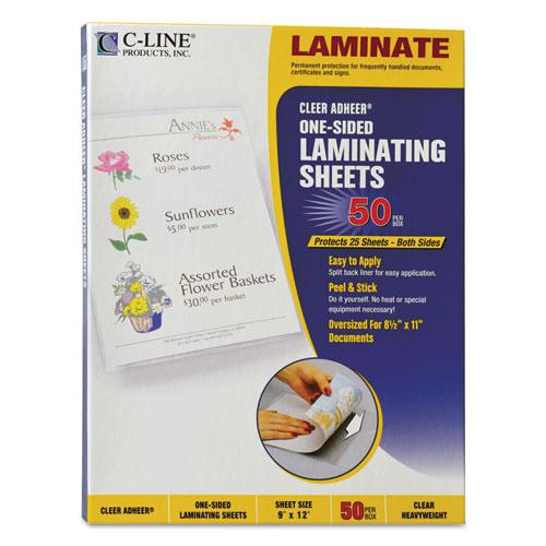 "Cleer Adheer Self-Adhesive Laminating Film, 2 mil, 9"" x 12"", Gloss Clear, 50/Box. The main picture."