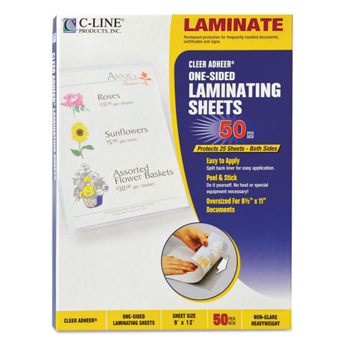 """Cleer Adheer Self-Adhesive Laminating Film, 2 mil, 9"""" x 12"""", Non-Glare Clear, 50/Box. Picture 1"""