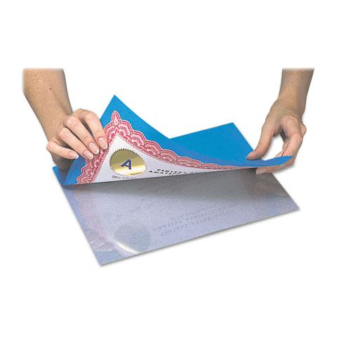 "Cleer Adheer Self-Adhesive Laminating Film, 2 mil, 9"" x 12"", Gloss Clear, 50/Box. Picture 3"