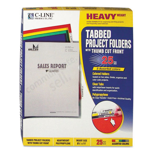 Heavyweight Project Folders with Index Tabs, 1/5-Cut Tab, Letter Size, Assorted Colors, 25/Box. Picture 1