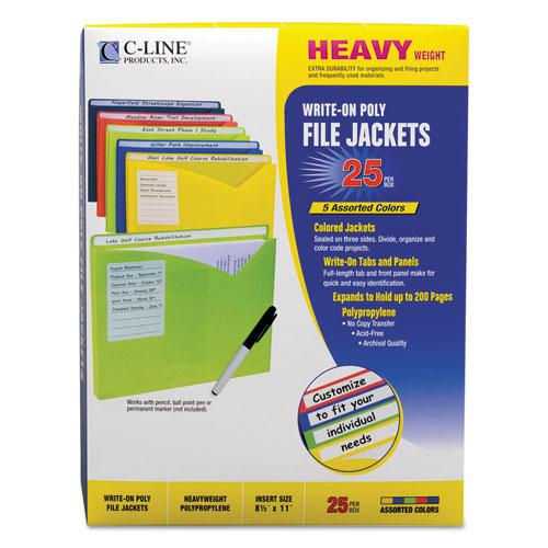 Write-On Poly File Jackets, Straight Tab, Letter Size, Assorted Colors, 25/Box. Picture 6